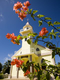 Flowers and Church on Takapoto Atoll, French Polynesia Photographic Print by Tim Laman