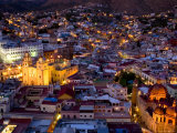 Guanajuato Lit Up at Night, Mexico Fotografisk tryk af David Evans