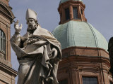 Italian Statue near the Le Due Torri and Torre Degli Asinelli Towers, Bologna, Italy Photographic Print by Gina Martin