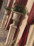 Greek Urns and Red Drapes at Entrance to Pantanassa Church, Athens, Greece Photographic Print by Richard Nowitz