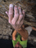 Hand Reaches Up for a Small Hold on a Rock Climb in Wyoming Photographic Print by Bobby Model