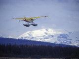 Floatplane Taking Off over the Kenai Mountains, Alaska Fotografisk tryk af Rich Reid
