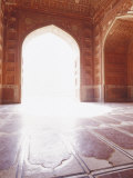 Intricate Carved Floor and Ceiling of the Sandstone Taj Mahal Mosque, Agra, India Photographic Print by Jason Edwards