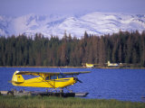 Floatplane on Beluga Lake and Kenai Mountains, Alaska Fotografisk tryk af Rich Reid