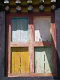 Faded Painted Shuttered Monastery Window, Qinghai, China Photographic Print by David Evans