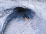 Ice Climbing into a Moulin on the Root Glaicer, Alaska Photographic Print by Rich Reid