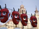 Devil Masks for Sale on a Street in Front of a Church, Guanajuato, Mexico Photographic Print by David Evans