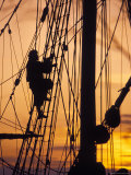 Reenactors Climbs Up a Reconstructed Seventeenth Centory Ship in Jamestwon Settlement, Virginia Photographic Print by Richard Nowitz