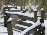 Fence Post at Donner Lake Area Covered in Fresh Snow, California Photographic Print by Rich Reid