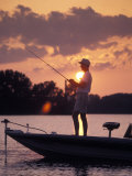 Man Fishes During Sunset on the James River near Shirley Plantation in Virginia Photographic Print by Richard Nowitz