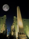 Moonrise over Luxor Complex in Luxor, Egypt Photographic Print by Richard Nowitz