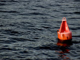 Red Buoy Marked with Number Eight Floating on Calm Seas Photographic Print by Todd Gipstein
