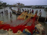 Fishermen with Colorful Nets in the Harbor of Beypore Photographic Print by James L. Stanfield