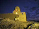 Lone Lit Temple at Night in Egypt Photographic Print by Richard Nowitz