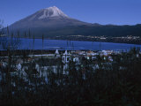 First Light on Lajes Village and Pico Mt. Top of Frame Photographic Print by James L. Stanfield