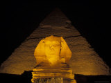 Pyramids and a Sphinx at Night in Giza, Egypt Photographic Print by Richard Nowitz