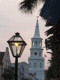 Saint John's Luthern Church at Night with a Lamppost in Charleston, South Carolina Photographic Print by Richard Nowitz