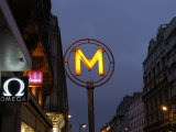Metro Sign in Downtown City Area, Paris, France Photographic Print by  Brimberg & Coulson