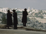 Hasidic Men Look Out over the City of Jerusalem Photographic Print by James L. Stanfield