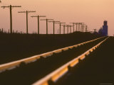 Railway Tracks at Sunset, Kansas Photographic Print by  Brimberg & Coulson