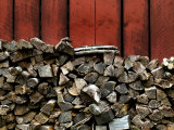 Large Stack of Fire Wood Piled Next to a Red Barn Wall Photographic Print by Todd Gipstein