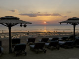 Dahab, Egypt, Middle East: Silhouette of Umbrellas with Sunset Photographic Print by  Brimberg & Coulson