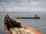 Fishermen in Canoes on Rio San Juan, San Carlos, Nicaragua Photographic Print by David Evans