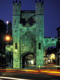 Monk Bar Gate Lit at Night in England Photographic Print by Richard Nowitz