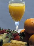 Orange Juice and Breakfast Fruits in a Hotel in Tel Aviv, Israel Photographic Print by Richard Nowitz