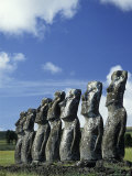 Moia Statues at Easter Island, Chile Photographic Print by Richard Nowitz