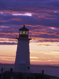 Lighthouse at Sunset in Peggy's Cove, Nova Scotia Photographic Print by Richard Nowitz