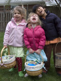 Cousins Pose with their Easter Baskets, Chevy Chase, Maryland Photographic Print by Stacy Gold