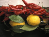 Lemons and Dried Red Peppers for Sale as Local Produce on the Amalfi Coast in Ravello, Italy Photographic Print by Richard Nowitz