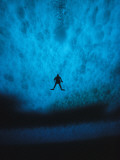 Diver is Silhouetted against the Pack Ice of Mcmurdo Sound Photographic Print by Bill Curtsinger