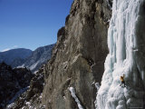 Male Ice Climbing in the Clark's Fork Canyon, Wyoming Photographic Print by Bobby Model