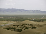 Road Between Mountain Range and Sand Dunes in Qinghai Province, China Photographic Print by David Evans