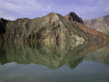 Reflections of Mountains in the Quiet Yellow River, Qinghai, China Photographic Print by David Evans