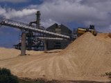 Logging Wood Chip Mill and a Tractor Atop a Vast Mound of Pulp, Australia Photographic Print by Jason Edwards