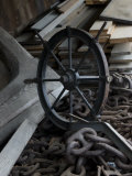 Old Ship's Wheel, Chains and Wood Planks against a Cedar Wall, Mystic, Connecticut Photographic Print by Todd Gipstein