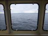 Looking Out a Ferry Boat Window on Lake Champlain Fotografisk tryk af John Burcham