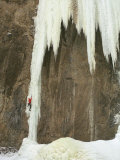 Male Ice Climbing in Wyoming Photographic Print by Bobby Model