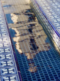 Reflection of the Mission San Buenaventura in Pool with Spanish Tiles, California Photographic Print by Michael S. Lewis