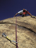 Man Rock Climbing above a Bolt in the Corral Photographic Print by Rich Reid