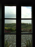 Looking Through a Window to the Rolling Hills of Tuscany, Italy Fotoprint van Todd Gipstein