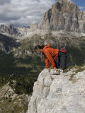 Rock Climber in the Cique Torre in the Dolomites, Italy Photographic Print by Bill Hatcher