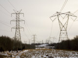 Powerline Towers Lead to the Distant Chimneys of the Power Station Photographic Print by Stephen St. John