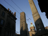 Le du Torri Towers at the Piazza di Porta Ravegnana, Bologna, Italy Photographic Print by Gina Martin