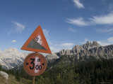 Road Sign on the Descent from the Cique Torre in the Italian Dolomit, Italy Photographic Print by Bill Hatcher