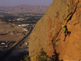 Man Rock Climbing on Sandstone above Cody, Wyoming Photographic Print by Bobby Model