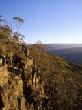 Rocky Cliff Face Overlooking Alpine Mountain Ranges at Sunset, Australia Photographic Print by Jason Edwards